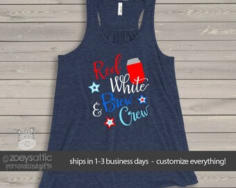 July 4th tank top   red white brew crew party womens flowy top   funny shirt for Independence Day snlj-001-f