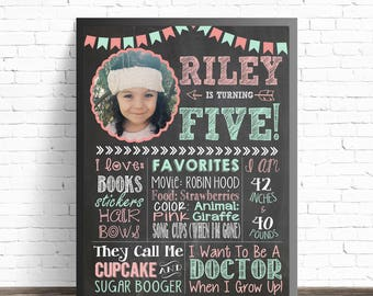 5th Birthday Chalkboard Sign / Birthday Poster Printable / Milestone Poster / Fifth Birthday Sign / Pink and Turquoise Party Decorations