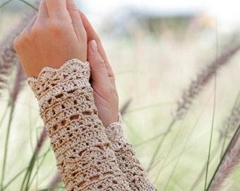 Long Lace Crochet Gloves, Cotton Lace Fingerless Gloves, Steampunk Lace Cuffs Gloves, Cotton Armwarmers, Long Lace Fingerless Gloves
