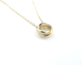 Gold triple ring necklace - Simple gold  necklace, eternity necklace, Rings necklace, Layering Tiny rings, intertwined rings