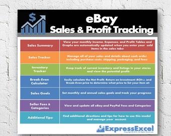 eBay Sales & Profit Tracking + Break Even Calculator | Microsoft Excel Spreadsheet | US and UK | Mac + PC | Instant Download