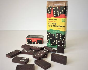 Dominoes Set, Vintage Double Six Club Dominoes, Halsam Domino Game, 1950s Tile Game in Original Box, Collectible Vintage Games