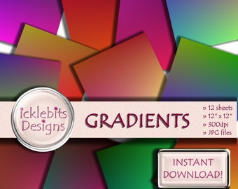"Gradient Rainbow Digital Paper Pack, ""GRADIENTS"" For Scrapbooking,high resolution, Gradient digital paper, rainbow digital paper, Design #72"