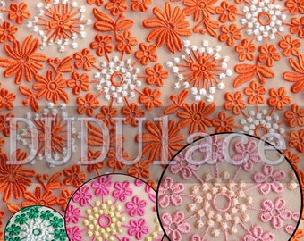 Orange Daisy Floral Lace Organza Lace Embroidered Fabric Bridal Fabric Fashion Wedding Dress Lace 47'' Wide 1 Yard S082