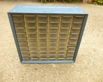 Akro-Mils 60 drawer steel sided hardware and supply cabinet in Blue - plastic drawers in great condition no cracks or breaks