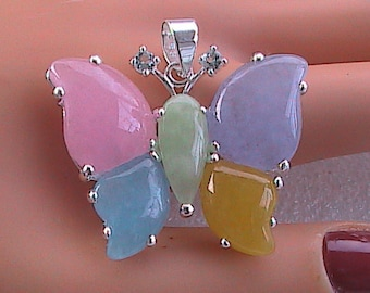 Sterling silver Multi-color Jade Butterfly Pendant