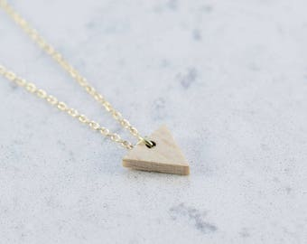 Triangle shaped necklace made of beech,wood,