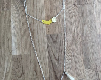 Yellow necklace double row silver