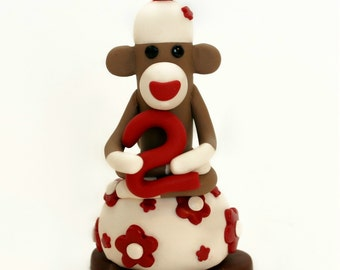 Smash Cake Sock Monkey Birthday Cake Topper w Number 3 inches Tall