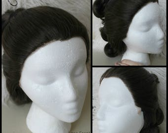 Custom Made to Order Inspired Rey Wig Episode 7 cosplay costume hair lace front styled brown buns ponytail