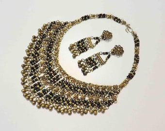 Vintage Brass Belly Dancing Necklace With Bells and Matching Clip On Earrings