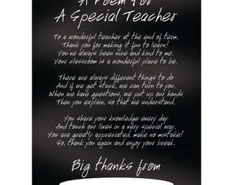 Teacher Appreciation - Special Thanks Poem - Instant Printable Download - Teacher Gift DIY - Personalised By You