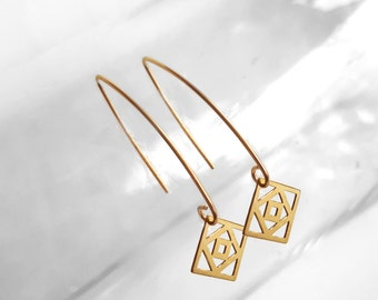 Square Charm Earrings, Hook Gold Plated Earrings, Hook, Dangle Earring, Quadrangle Shaped Modern Ear Jewelry, Fashion Accessories