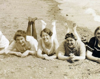 vintage photo Beach Bathing Beauty Ladies Lay in Sand Kick up Feet