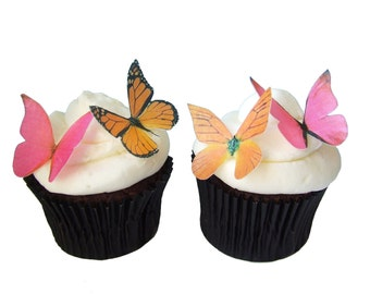 Edible Butterflies | CAKE DECORATIONS | 24 Edible Butterflies in Pink and Orange | Butterfly Cake Toppers | Wedding Cake