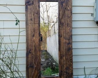 Hand-Scraped Rustic Interior Barn Door with Mirror