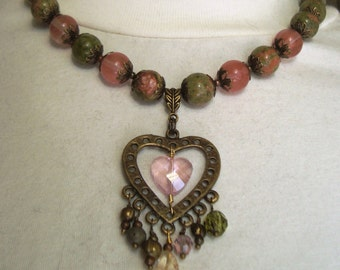 Unakite Necklace With Double Heart Focal - Antiqued Brass and Pink Crystal, with funky drops - Art Nouveau-Boho-Gypsy-Valentine-Hippie
