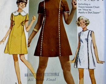 60s Dress Pattern, Simplicity 8612, 1960s Princess Seamed Dress, Vintage Sewing Pattern, Bust 34