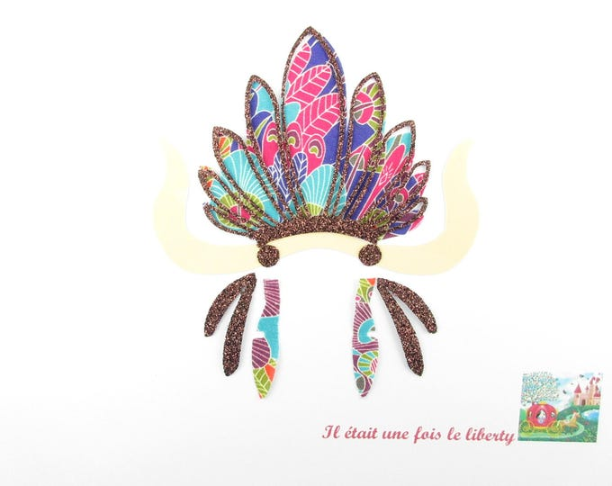 Applied fusing Indian headdress in glitter flex fusible pattern and multicolor Eben liberty liberty headdress Indian patch