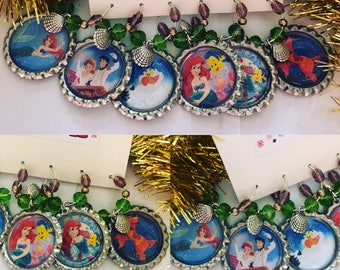 The Little Mermaid Wine Charms