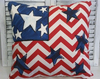 Red and White Chevron Flag, 4th of July Decorations,Indoor/Outdoor Cushions, Americana, Patriotic Pillow, Hand-painted, Flag Pillow Cover