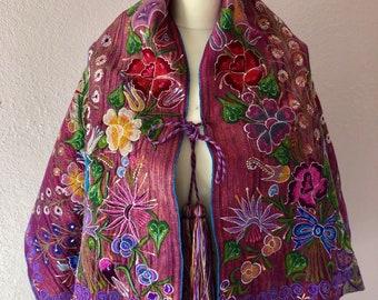"Chiapas embroidered caplet shawl textile Highland Mayas Zinacatan Mexico boho Frida Kahlo Style  22 1/2""W x 50""L Style'18 #A"