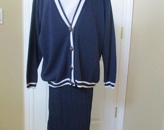 Vintage Skirt Suit 3-piece suit, skirt sleeveless top & jacket Navy Blue and White size M Ivy League