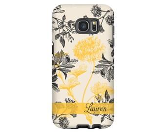 Floral Galaxy Note 8 case, Galaxy S8 case, yellow botanical Galaxy S8 Plus, S7 case, Galaxy S6 case, , flowers Galaxy case
