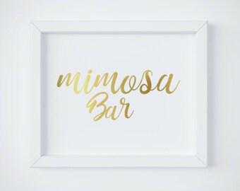 Mimosa Bar Sign, Bubbly Bar Sign, Bridal Shower Sign, Wedding Sign, Wedding Bar Sign, Wedding Decor, Gold Wedding Decor, Mimosa Bar download
