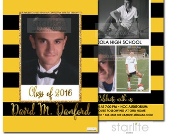 Black and Gold Photo Graduation Announcement Card, Graduation Invitation Annoucement in Black and Yellow, 2 sides 4 photo announcement card