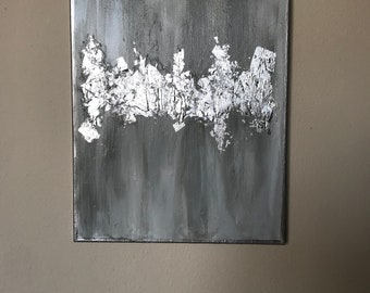 Silver leaf painting/ Grey painting/ Gold Leaf painting/ Silver leaf canvas/  Abstract Art/ wedding gift/ housewarming gift