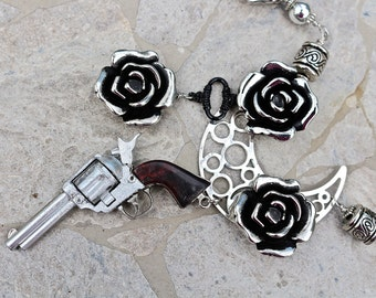 Statement Necklace, Vintage Toy, Vintage Necklace, Silver, Black, Hand Wired, Revolver, Rose, Reclaimed, Goth, Boho, Hip -  Guns n Roses 3