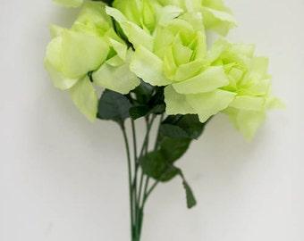 Green silk flowers etsy 84pc green silk flowers silk open rose light green lime spring flower wedding mightylinksfo Choice Image