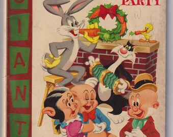 Dell Giant Bugs Bunny's Christmas Funnies (Party); Vol 1, 6, Golden Age Comic Book. VG+ (4.5). November 1955. Dell Comics