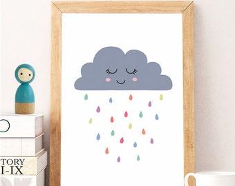 Cloud Wall Art, Rain Cloud Print, Rain Cloud Art Print, Cloud Artwork, Cloud Nursery Art, Rain Cloud Wall Prints, Rainy Cloud, Digital Art