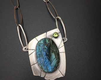 "Natural labradorite drusy statement necklace, ""Tripwire"" texture sterling silver, peridot, big bold chain"