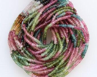 Rainbow Tourmaline beads / Multi color Tourmaline / Rondelle beads / Natural Tourmaline beads / 3X2mm Roundel / semiprecious stone