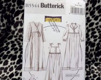 Womens Victorian Quilted Nightgown Robe Slippers Butterick B5544 Pattern Size large XLarge Making History Sewing Costume Uncut
