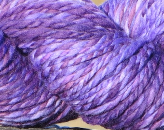 Handspun Hand Painted Merino Wool Yarn - Bulky - Purple Twist - 4.5 oz., 130 g., 170 Yards