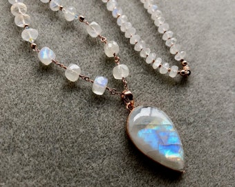 Moonstone and rose gold necklace, moonstone necklace, rose gold moonstone necklace