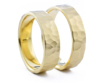 Hammered Wedding Bands for Him & Him, His and His Wedding Band Set, 6mm 14K Gold Birch Wedding Ring Set, 14K Gold Wedding Band Set