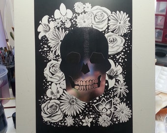 Silver Skull metal foil art print