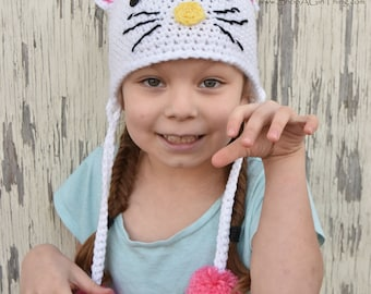 HELLO KITTY Hand Crochet Beanie Hat Choose From Two ready To Ship Hats