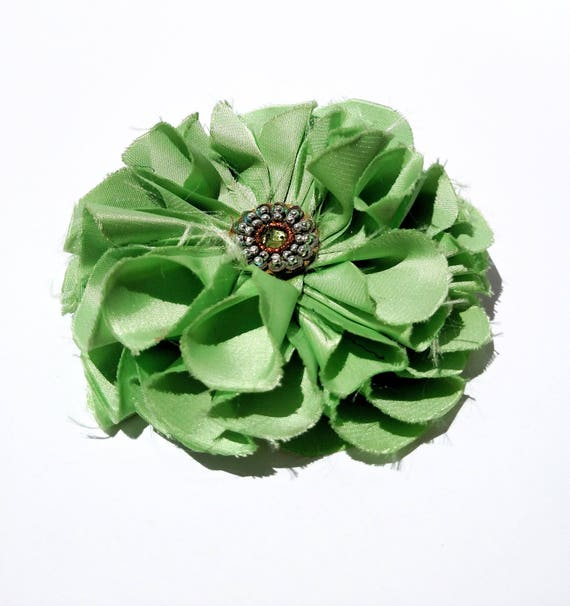 Recycled Vintage Fabric Flower Clip - Sage Green