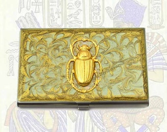 Business Card Case Steampunk Scarab Inlaid in Hand Painted Enamel Gold Scroll Design Egyptian Beetle Custom Colors and Personalized Options