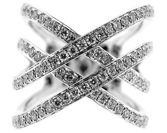 10570 Diamond Criss-Cross Double X Dimensional Ladies Ring in 18K White Gold