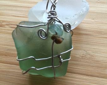 Wrapped Sea Glass, Beach Jewelry