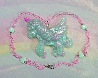 Fairy Kei Necklace, Unicorn Necklace, Pop Kei Necklace, Pegasus Necklace, Decora Necklace, Pastel Goth Necklace, Alicorn Necklace