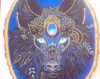 Wolf,spirit guide,black,altar tile