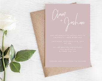 CLAIRE SUITE - wedding invitations printable - Wedding set - Blush Pink Invite - Digital invitations - minimalistic invites